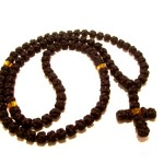 Black Knotted Rosary with Orange Beads