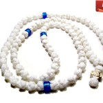White Prayer Necklace with blue beads