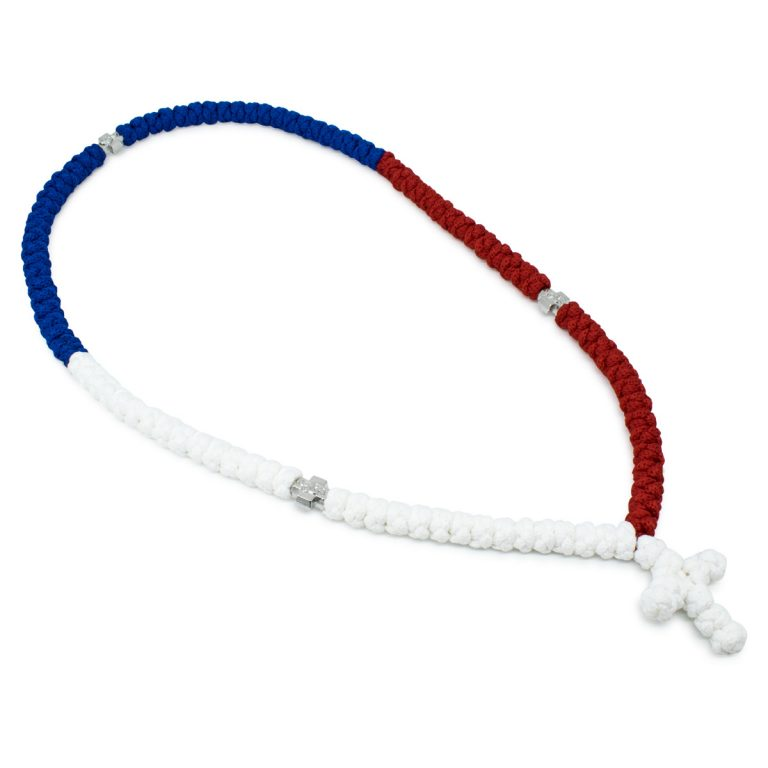 Marvellous 100 Knot Red White and Blue Prayer Necklace
