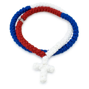 100 Knot Red White and Blue Prayer Necklace-0
