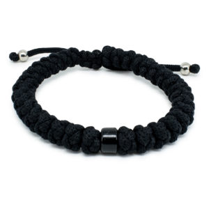 Adjustable Black Prayer Bracelet with Bead-0