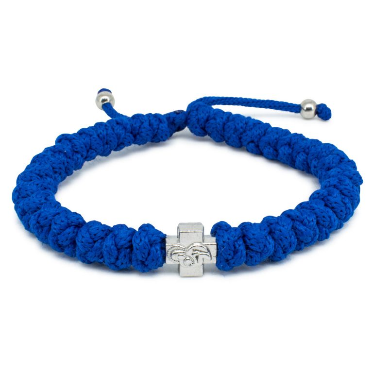 Adjustable Blue Prayer Bracelet-0