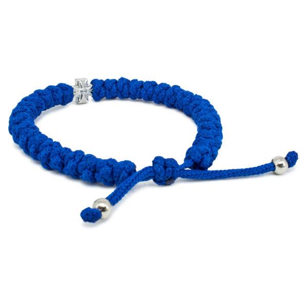 Adjustable blue prayer bracelet