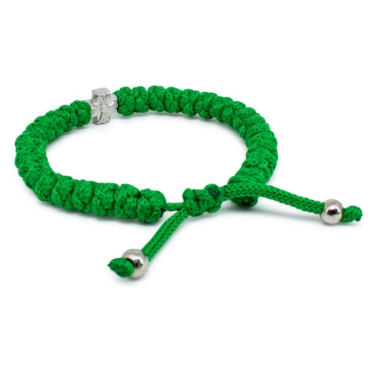 Adjustable green prayer bracelet
