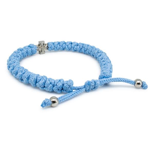 Adjustable light blue prayer bracelet