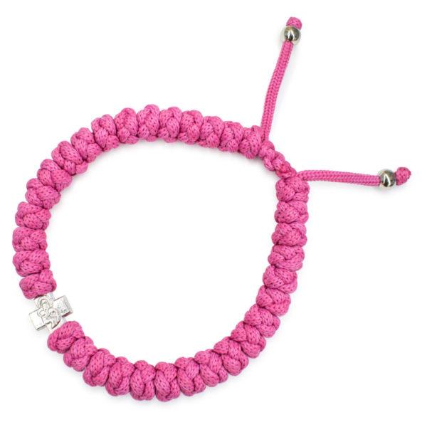 Adjustable pink prayer bracelet