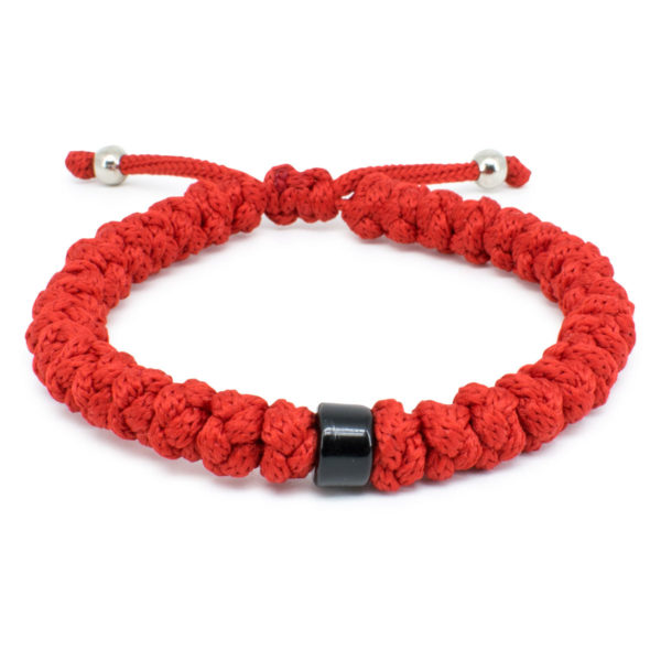 Adjustable Red Prayer Bracelet With Bead-0