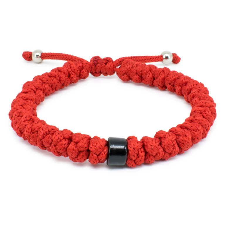 Adjustable Red Prayer Bracelet With Bead-0