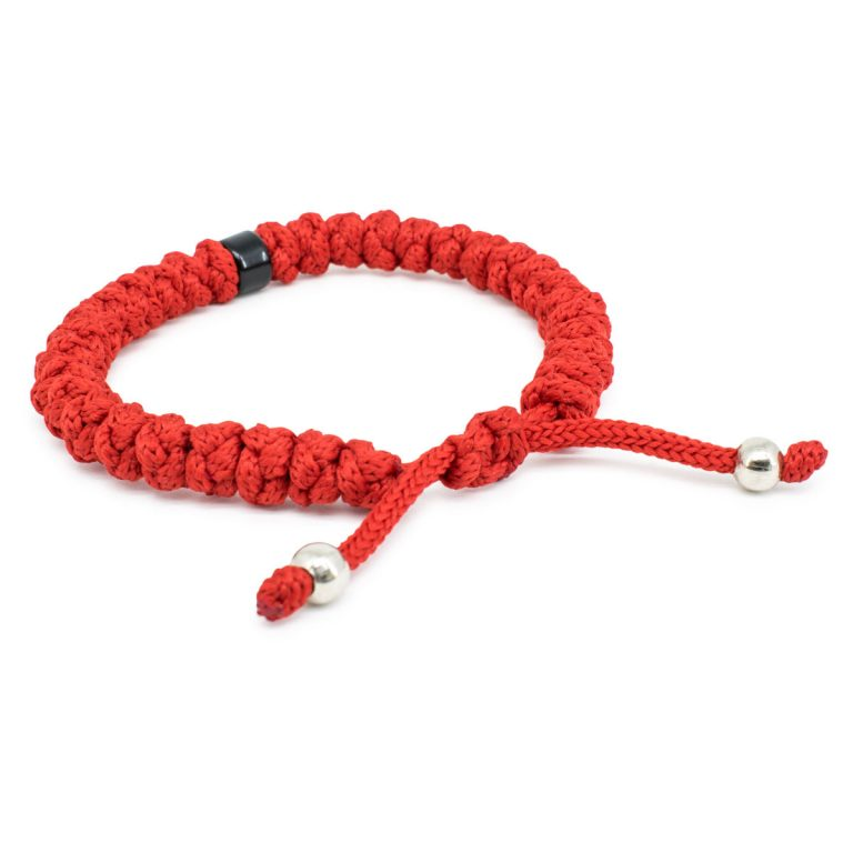 Adjustable Red Prayer Bracelet with Bead