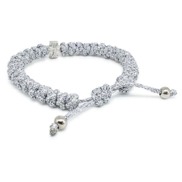 Adjustable silver prayer bracelet
