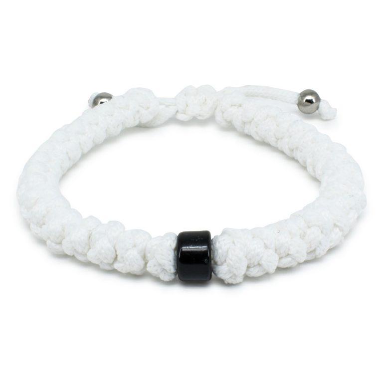 Adjustable White Prayer Bracelet With Bead-0