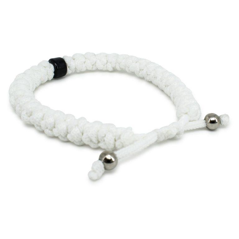 Adjustable White Prayer Bracelet with Bead