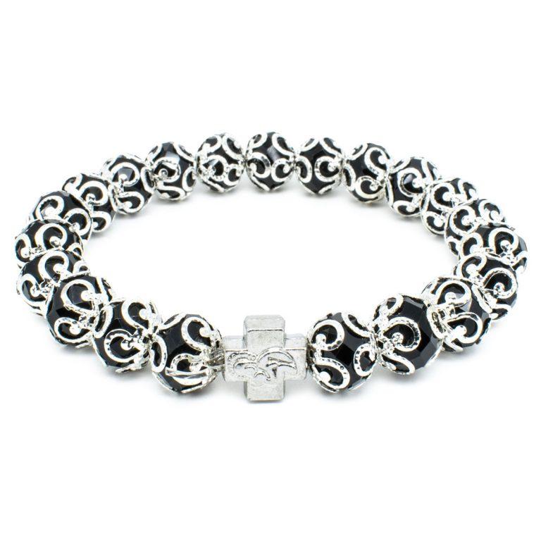 "Black Glass Prayer Bracelet ""Aurora""-0"