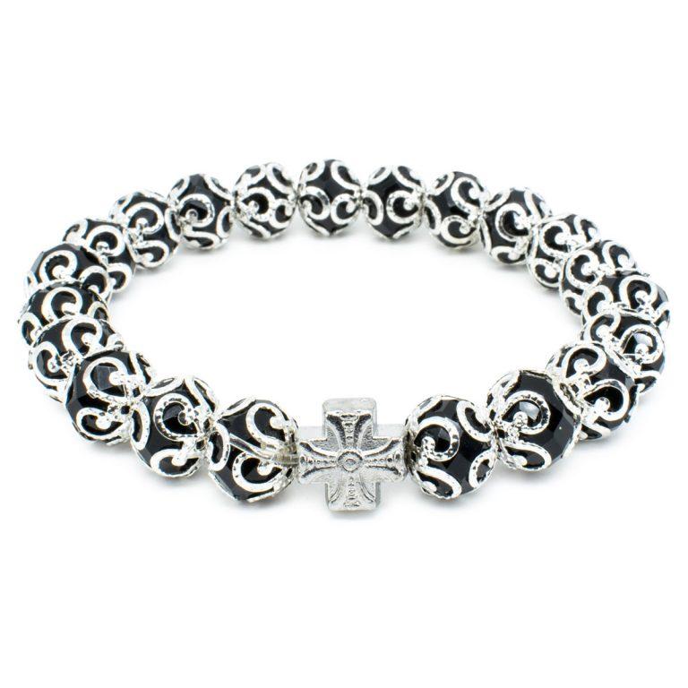 "Wondrous Black Glass Prayer Bracelet ""Aurora"""