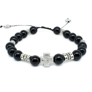 "Black Onyx Stone Prayer Bracelet ""Zane""-0"