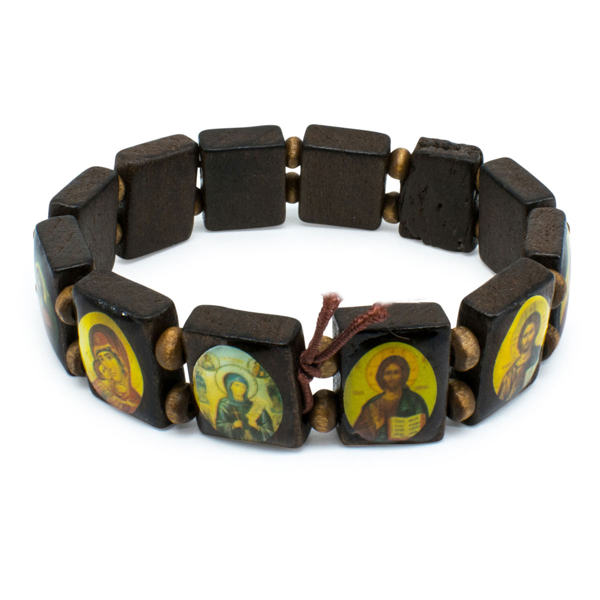 Amazing Black Orthodox Wooden Saints Bracelet