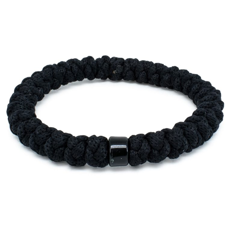 Black Prayer Bracelet with Bead-0