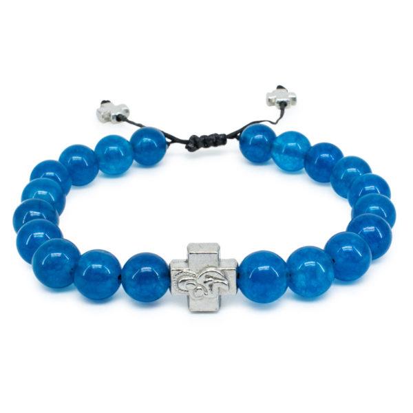 Blue Jade Stone Prayer Bracelet-0