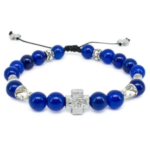 "Dark Blue Jade Stone Prayer Bracelet ""Darkmoon""-0"