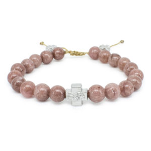 Brown Candy Jade Stone Prayer Bracelet-0