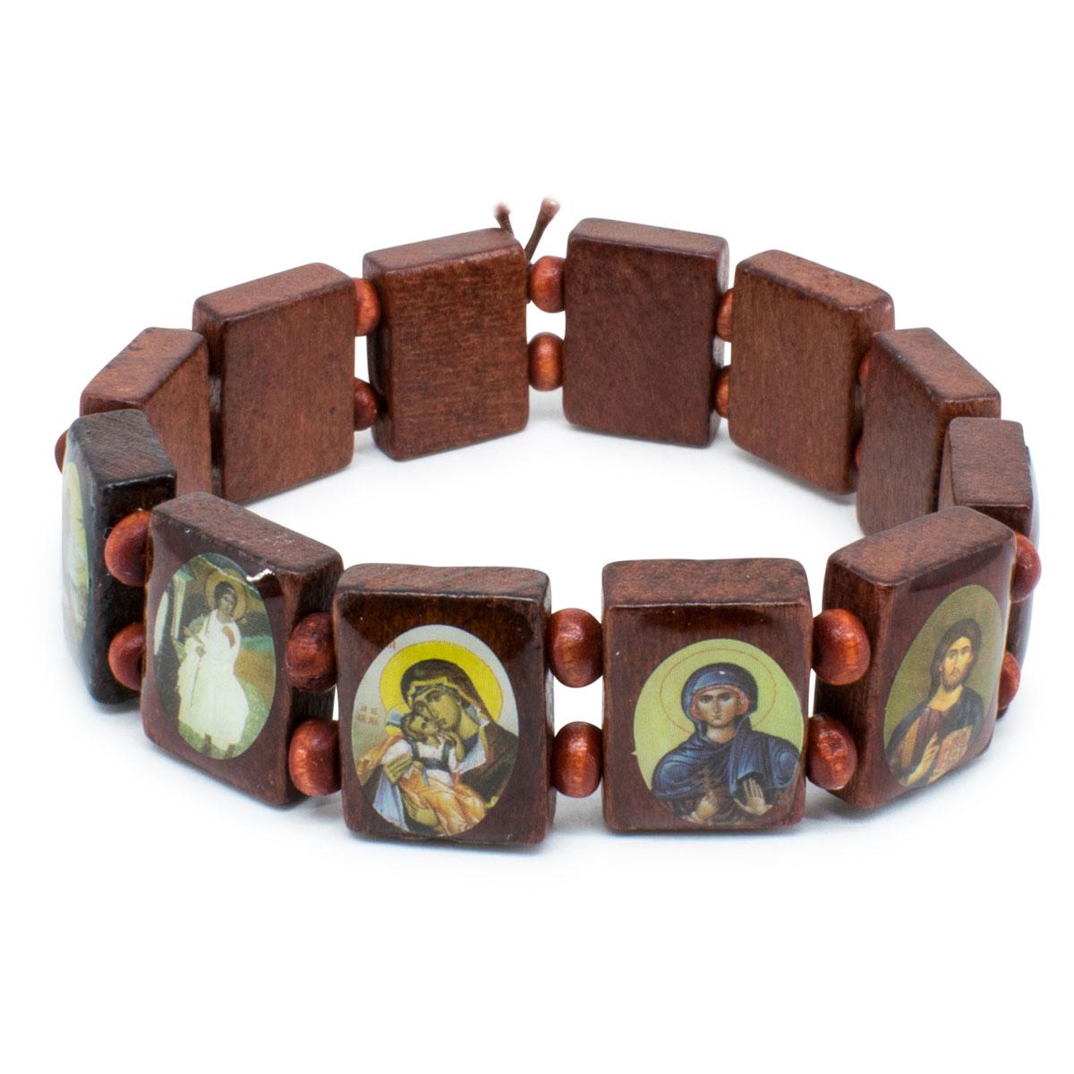 Wonderful Brown Orthodox Wooden Saints Bracelet