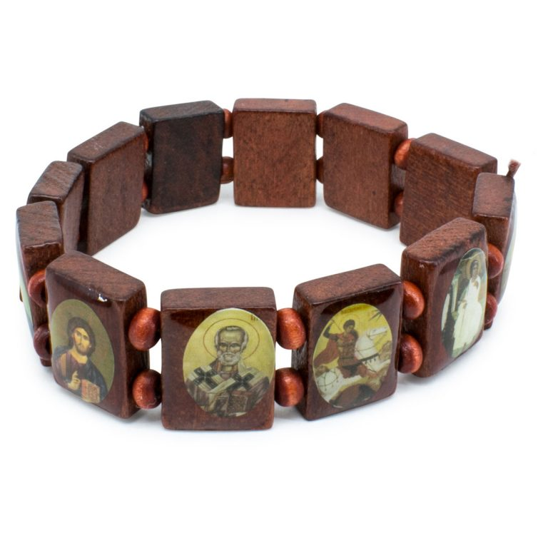 Wonderful Brown Wooden Orthodox Icon Bracelet