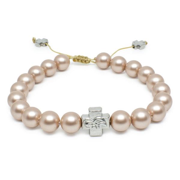 Cappuccino Swarovski Pearl Prayer Bracelet-0