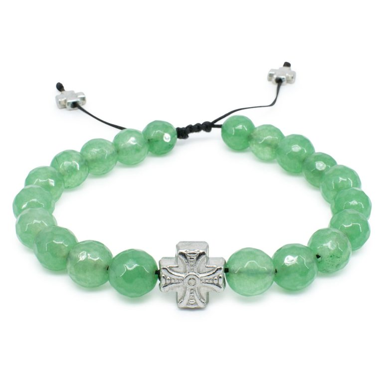 Amazing Facetted Green Jadeite Stone Prayer Bracelet