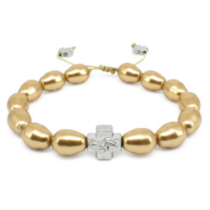 Gold Swarovski Teardrop Pearl Prayer Bracelet-0