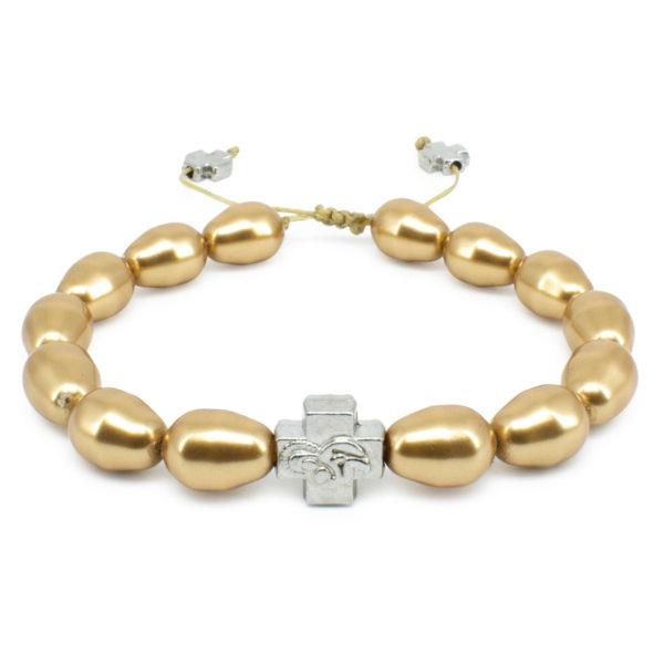 Gold Swarovski Teardrop Pearl Prayer Bracelet-0