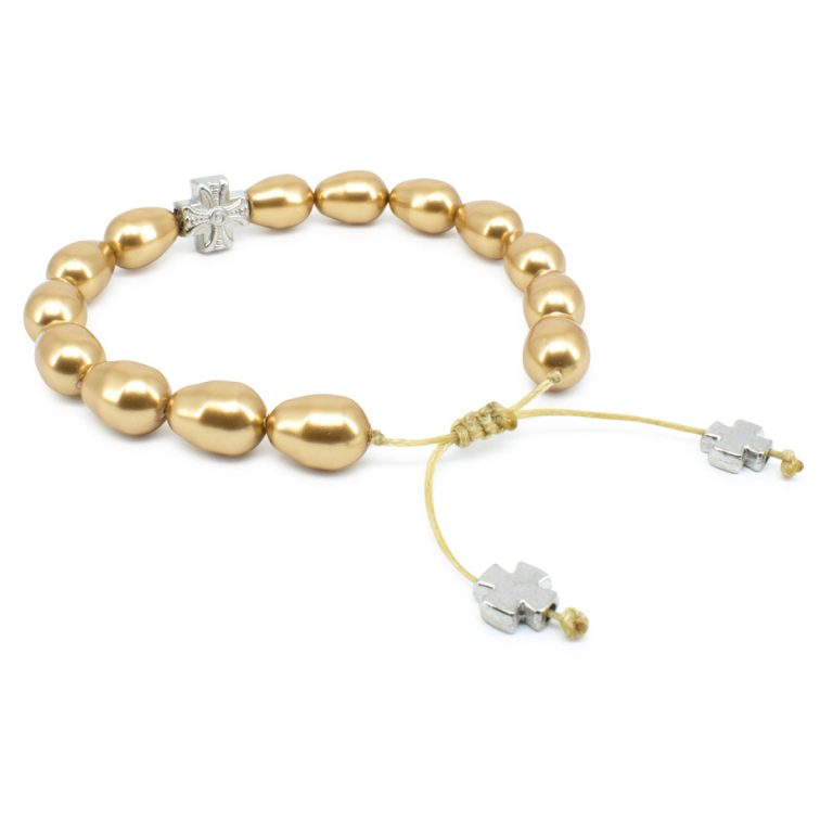 Gold Swarovski Teardrop Pearl Prayer Bracelet-501