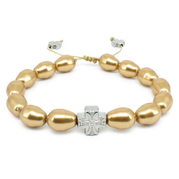 Gold Swarovski Teardrop Pearl Prayer Bracelet-502
