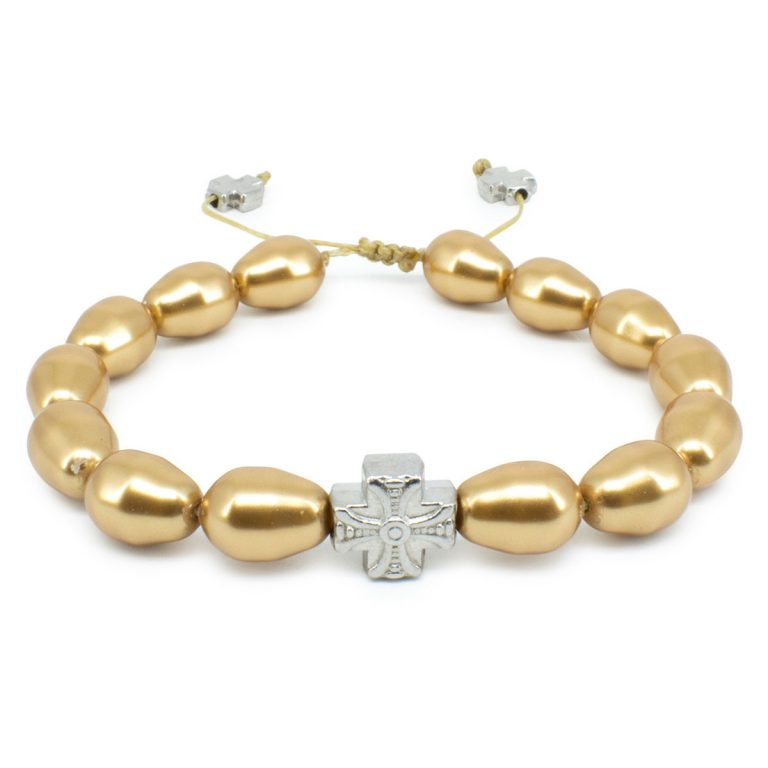 Gold Swarovski Teardrop Pearl Prayer Bracelet-502