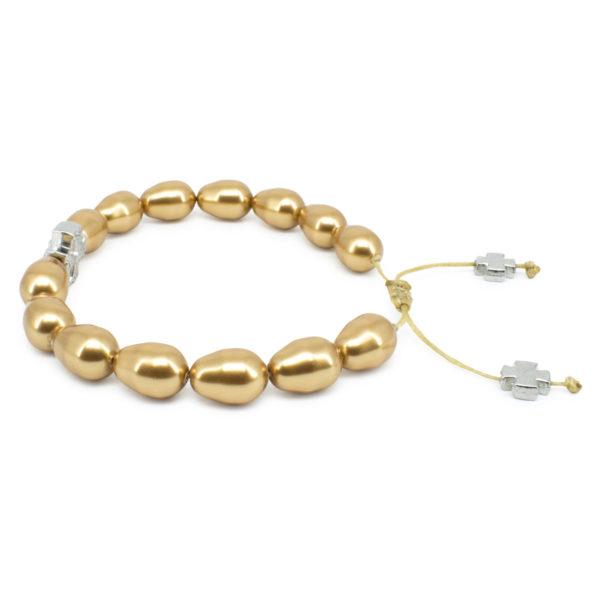 Gold Swarovski Teardrop Pearl Prayer Bracelet-503