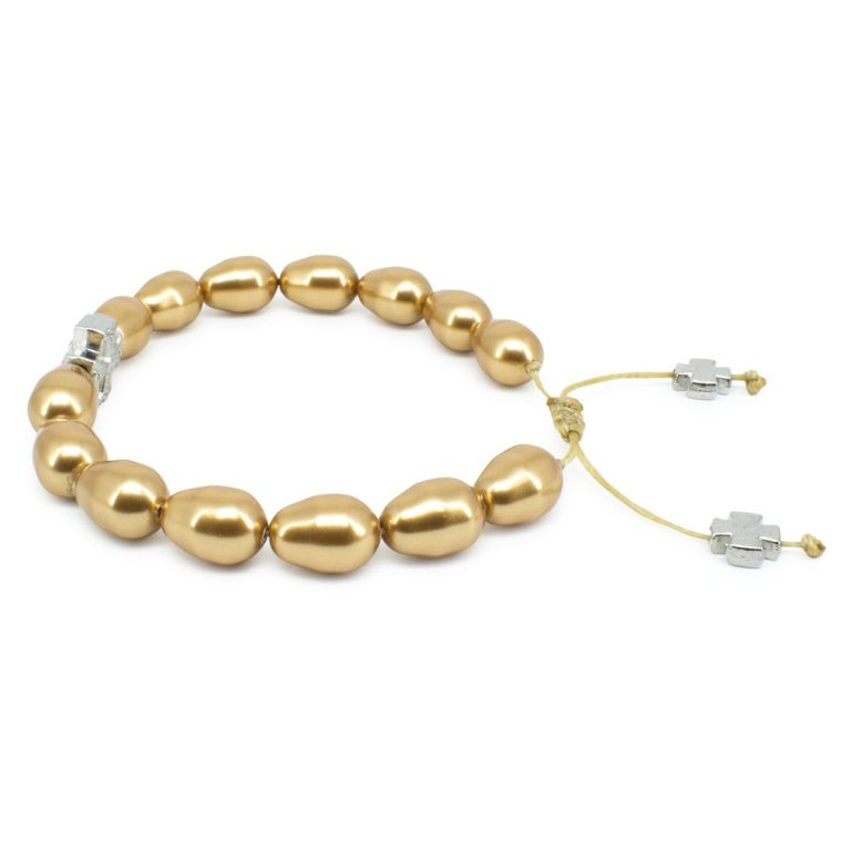 Gold Swarovski Teardrop Pearl Prayer Bracelet-503