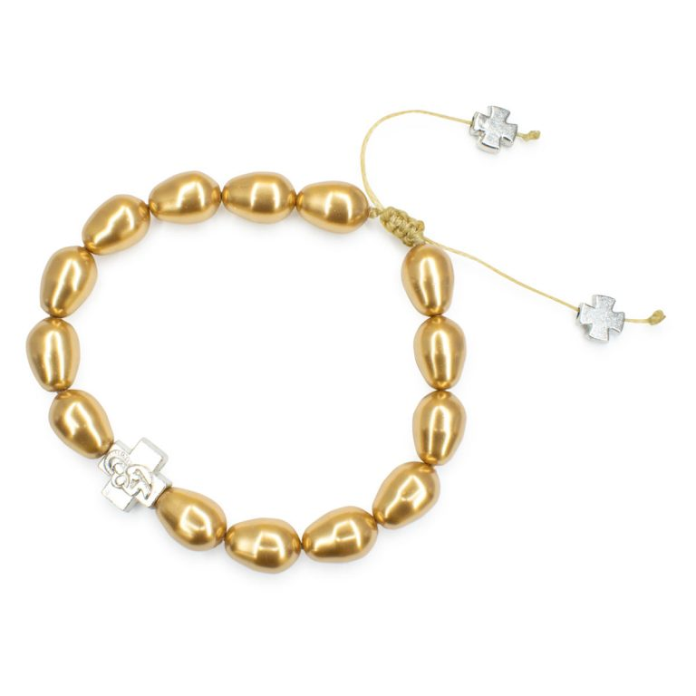 Gold Swarovski Teardrop Pearl Prayer Bracelet-504