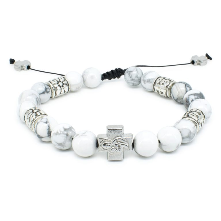 "Howlite Stone Prayer Bracelet ""Twilight""-0"