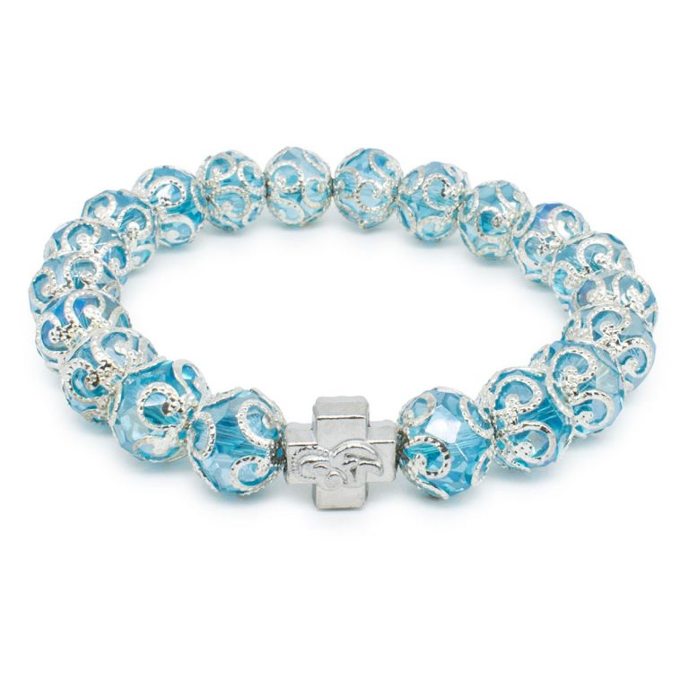 "Light Blue Glass Prayer Bracelet ""Eugenia""-0"