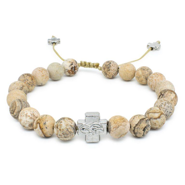 Matte Calcite Stone Prayer Bracelet-0