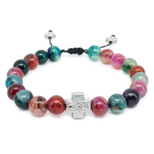 Multi Color Agate Stone Prayer Bracelet-0