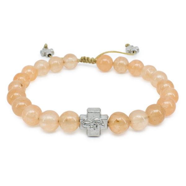 Orange Candy Jade Stone Prayer Bracelet-0