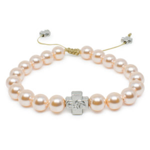 Peach Swarovski Pearl Prayer Bracelet-0