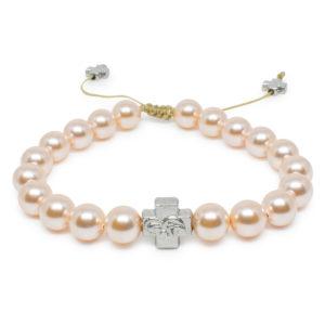 Peach Swarovski Pearl Prayer Bracelet-0