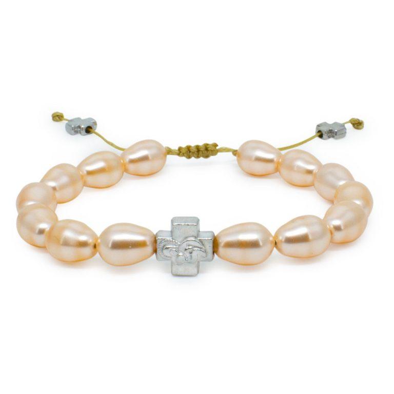 Peach Swarovski Teardrop Pearl Prayer Bracelet-0