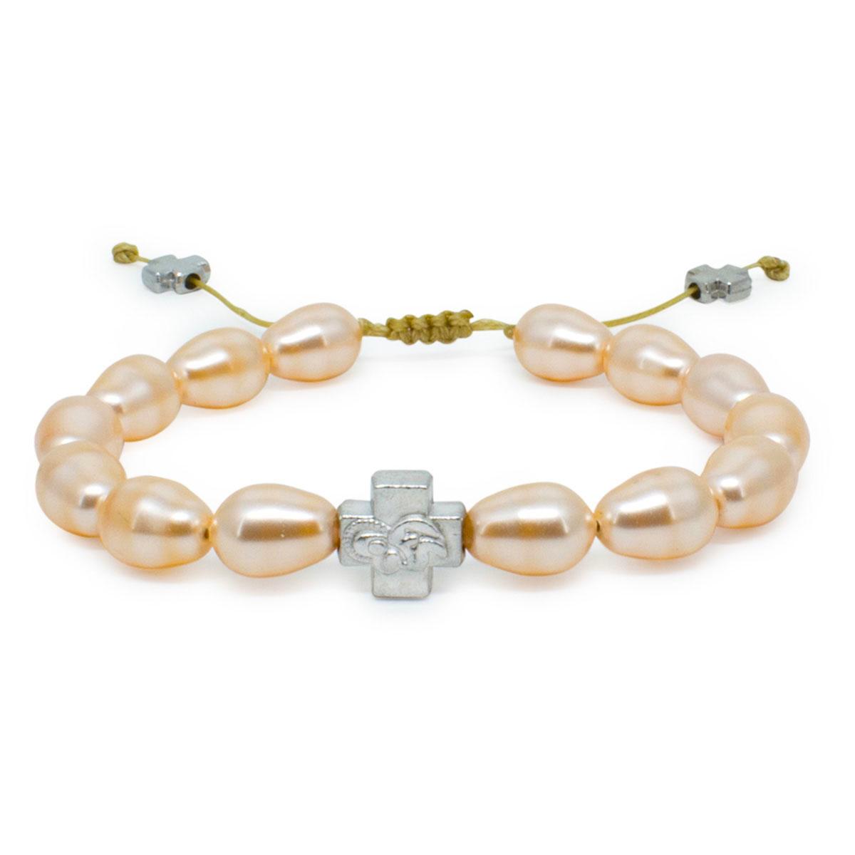 Peach Swarovski Teardrop Pearl Prayer Bracelet 0