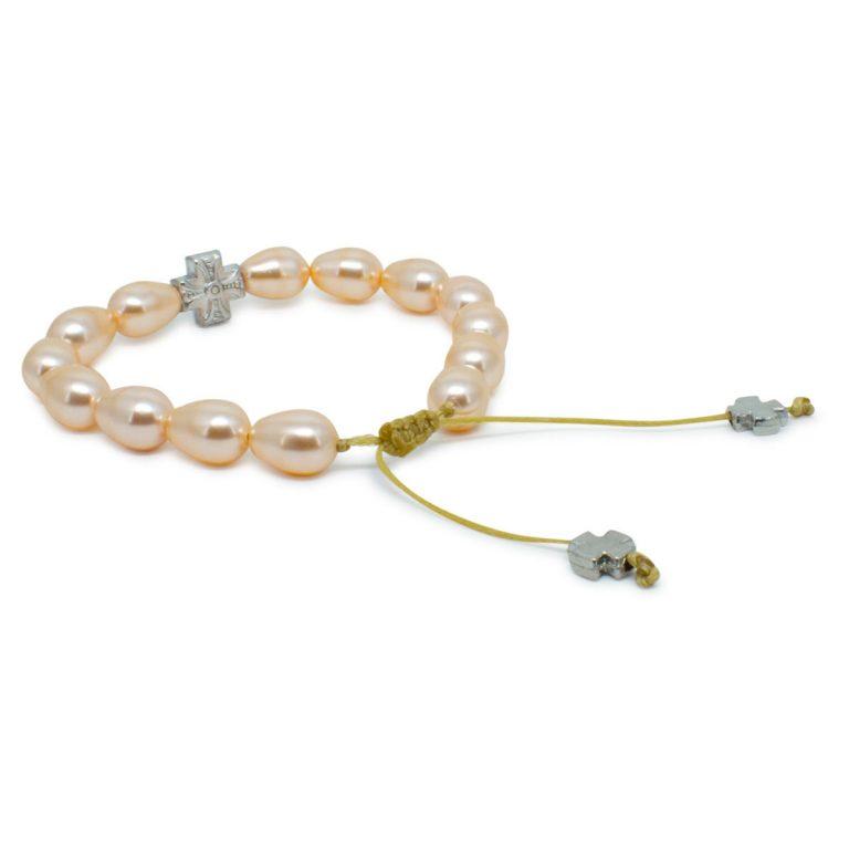 Peach Swarovski Teardrop Pearl Prayer Bracelet
