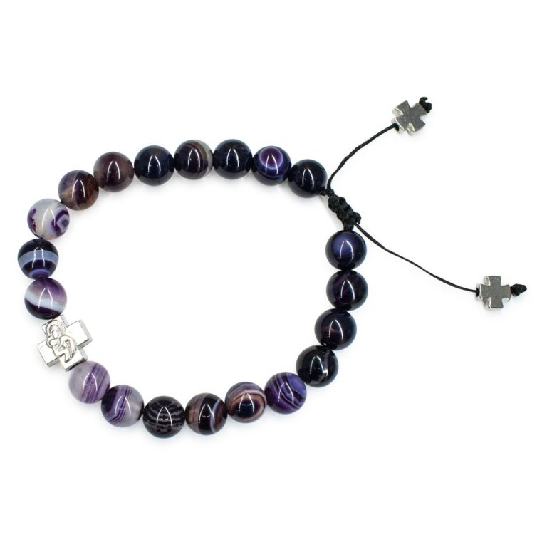 Marvellous Purple Agate Stone Prayer Bracelet