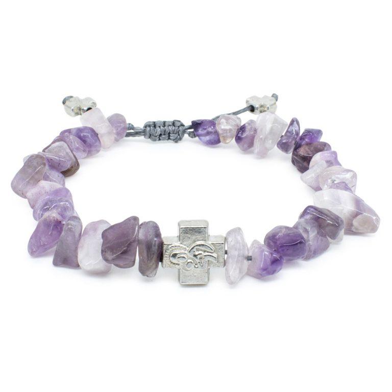 Purple Amethyst Stone Chips Prayer Bracelet-0