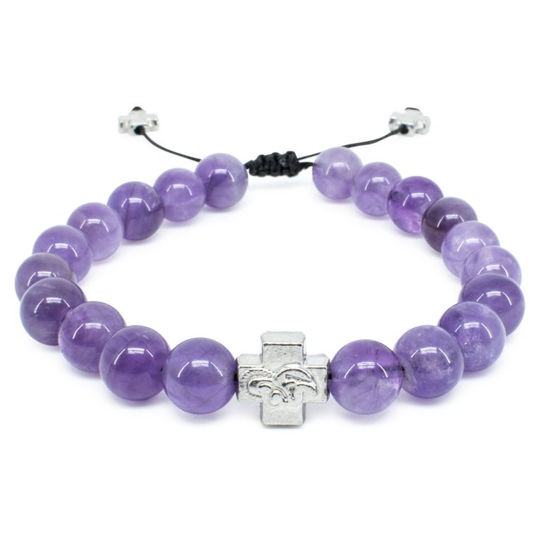Purple Amethyst Stone Prayer Bracelet-0