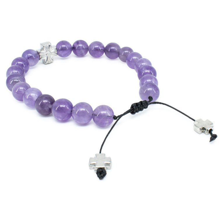 Exquisite Purple Amethyst Stone Prayer Bracelet